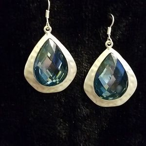 Teal drop earrings